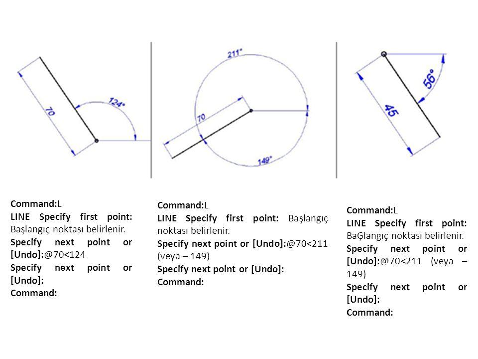 Command:L LINE Specify first point: Başlangıç noktası belirlenir. Specify next point or [Undo]:@70<124.